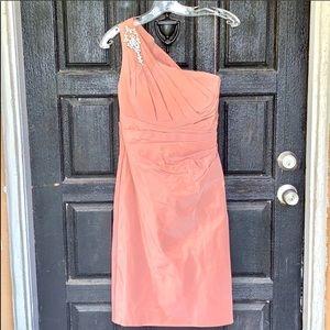 Taffeta one shoulder with  brooch  new dress